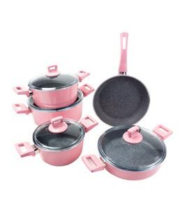 مجموعة اوانى الطبخ البرتو 9 قطع سطح جرانيت باللون الوردى