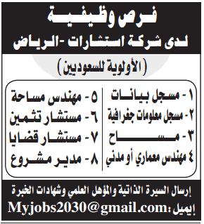 وظائف جريدة الرياض