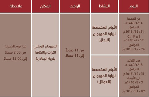 جدول مواعيد زيارة مهرجان الجنادرية 33