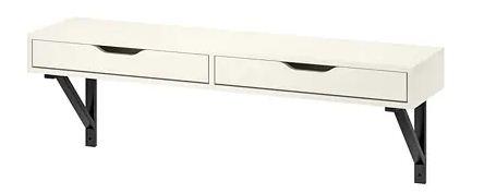 رف مع درج، أبيض، أسود، الحجم، سم 31x119،