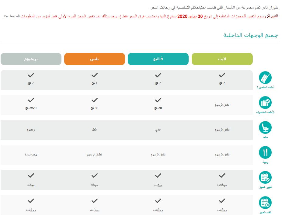 جدول رسوم تعديل او الغاء حجز طيران ناس