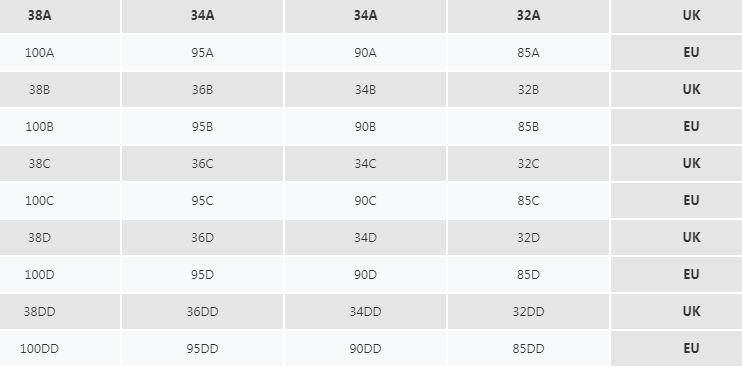 جداول قياسات vogacloset للصدريات