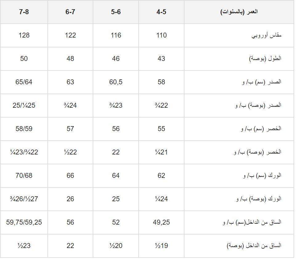 مخطط قياسات ملابس الاطفال من اتش اند ام (4 : 8 سنة)
